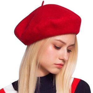 Classic Red Beret Wool Hat